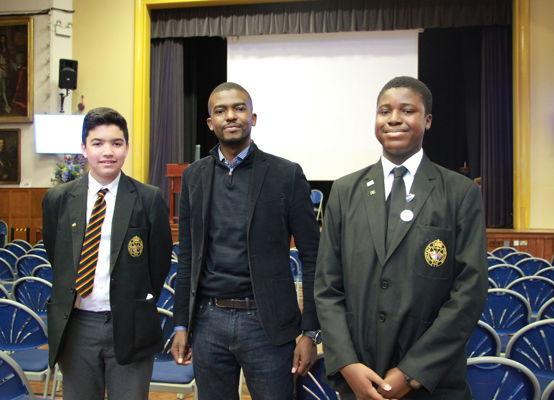 Alumnus Aaron Akinyemi talks to Year 10 students