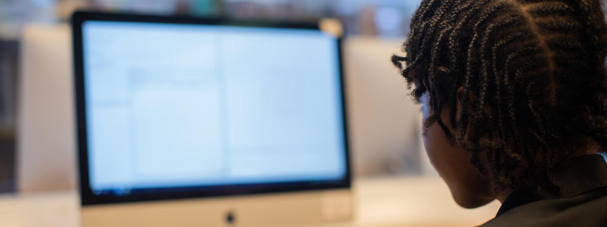 Pupil using computer