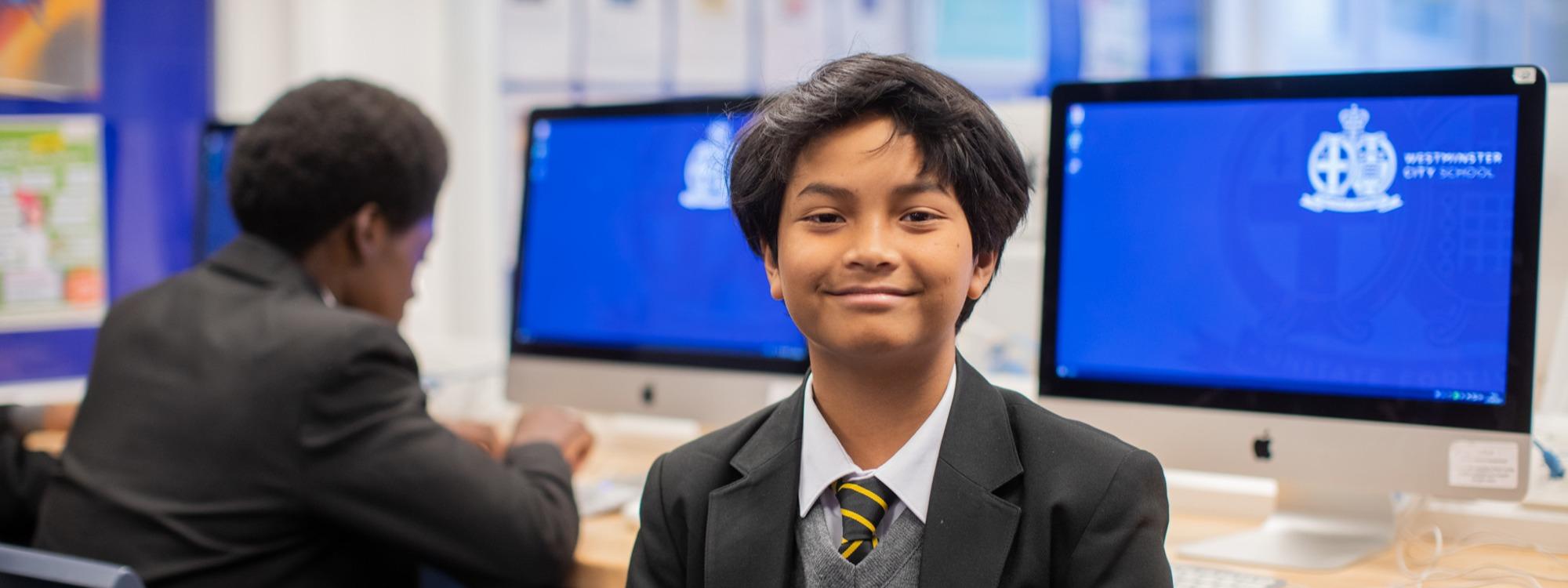 Y7 boy with computer