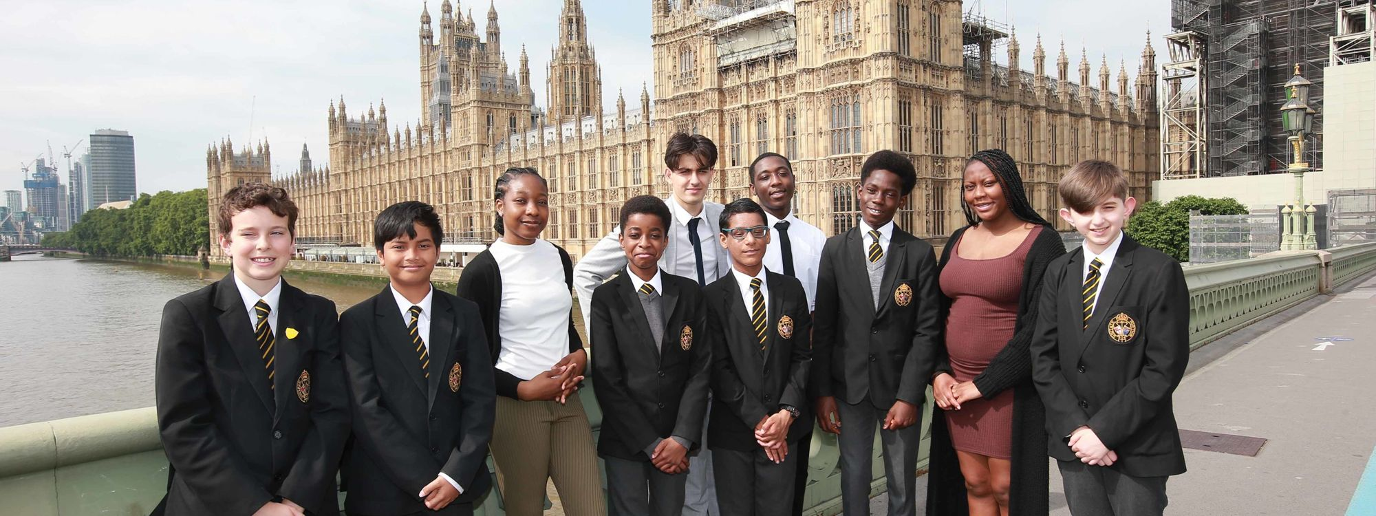 Students outside the Houses of Parliament